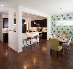 Beautiful kitchen allows for easy interaction with the dining space [Design: Sabal Homes]