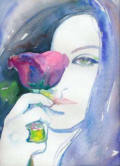Watercolour Fashion Illustration  Mila by silverridgestudio
