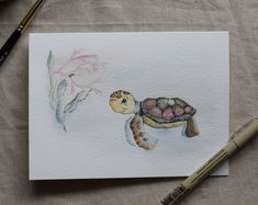 Baby Sea Turtle -Among the coral-watercolor card- Print