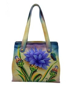Look what I found on #zulily! Lavender Dahlia Hand-Painted Leather Tote #zulilyfinds