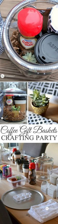 Coffee Gift Baskets In a Jar | coffee and crafting party #SipIndulgence @coffeemateusa @walmart #ad #party