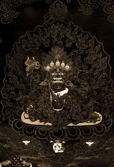 mahakala - this series of gold on black thangkas are some of my favorites. i have seen them in a book. found this one on tumblr.