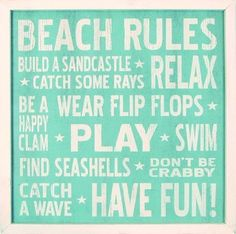 "Vintage Beach Rules Wood Sign 18"" x 18"""