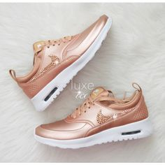 b5ac76a1440 Nike air max thea customized with metallic rose gold 2088 swarovski xirius  rose-cut crystals. Color  rose gold fit  this style runs size small