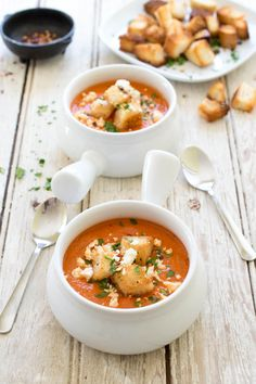 Rich and Creamy 30 Minute Roasted Red Pepper and Tomato Soup. Loaded with red peppers and fire roasted tomatoes. Topped with feta cheese and croutons..