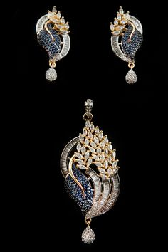 Breguet, marquise and round shape colored american diamond pendant set in two tone plating