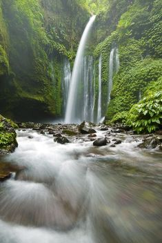 Tiu Kelep Waterfall in Lombok, Indonesia