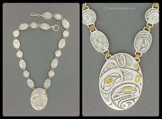 New Work: Orca & Thunderbird Necklace, Silver & Gold. Native Indian, Native Art, Native American Art, Indian Art, Jewelry Art, Jewlery, Silver Jewelry, Haida Art, Aboriginal Art