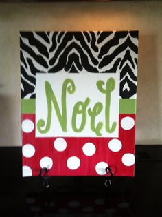 Noel Christmas Canvas by SuesChicCreations on Etsy, $25.00