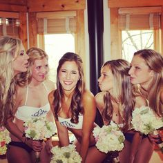 Bridesmaid gifts the morning of the wedding - monogrammed swimsuits by @RahRah designs