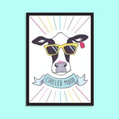 Chilled mood. Fun, summery, quirky, A5 cow print