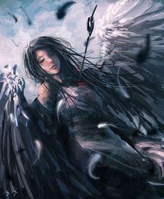 Falling by Wang Ling - angel - Art of Fantasy Fantasy Women, Fantasy Girl, Dark Fantasy, Ange Demon, Anime Angel, Angel Art, Gothic Art, Dark Art, Digital Illustration