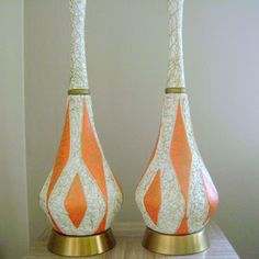 Mid Century Modern Lamp Pair 1960s Orange and Gold by cherryrivers, $149.00