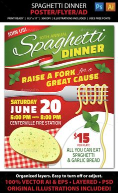SPAGHETTI DINNER FUNDRAISER Event Poster, Flyer or Ad - Miscellaneous Events