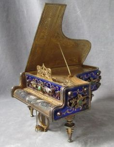 Vintage Fancy Gilt Sterling Silver Piano Music Box Jeweled Enameled Reuge Lovely | eBay
