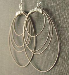 Silver Hoop Earrings : Guitar String. $28.00, via Etsy.