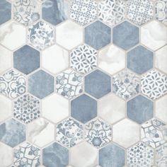 Home Decor Ideas Shabby Chic Chateau Blue 2 in. Hexagon Recycled Glass Mosaic - 13 x 14 - 100550714 Bathroom Floor Tiles, Shower Floor, Glass Tile Bathroom, Wall Tiles, Bathroom Ideas, Bathroom Cabinets, Blue Tile Bathrooms, Tile For Small Bathroom, Best Bathroom Flooring
