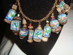 Vintage Unsigned Miriam Haskell Chinese Oriental Lantern Enamel Brass Necklace | eBay