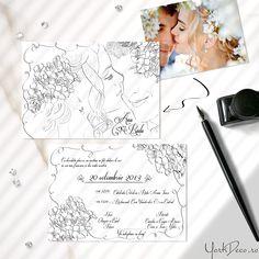 Invitații de nuntă unicate la comandă, cu portretul desenat al mirilor și ilustrate cu flori de cireș Wedding Invitations, Wedding Invitation Cards, Wedding Stationery, Wedding Invitation, Wedding Invitation Suite, Wedding Invitation Design