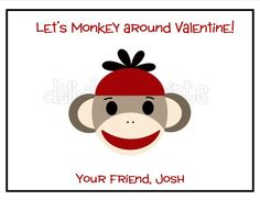 Sock Monkey Valentine by delightfulprints