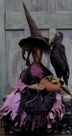 Primitive WITCH AGATHA and her BUZZARD Halloween Doll Pattern LAST RUN #hillkountrykrafts