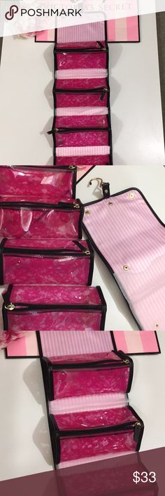 Victoria's Secret make up bag💕💕💕💕💕 Victoria's Secret 4 pc makeup bag new with no tags. Gorgeous addition to your collection.  It folds into a small bag, perfect for traveling. Snap in bags can be separated into 4 smaller bags.  Each bag is lined with pink lace. Also can hang over the door.💗💗💗💗 victorias secret Bags Cosmetic Bags & Cases