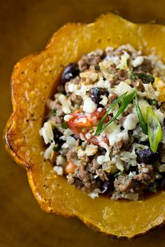 Resolution Meal: Roasted & Stuffed Acorn Squash with Brown Rice, Seasoned, Lean Ground Beef and Black Beans, with a touch of Sharp White Cheddar