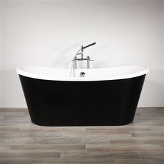 CoreAcryl WHITE French Bateau acrylic skirted tub package with Flat Black exterior