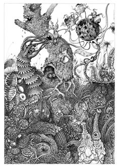 Collaboration with Joe MacGown.  I did the top portion, covered it except for a one inch strip at the edge, and mailed it to Joe to finish the bottom section.  The drawing is made with inkpen.