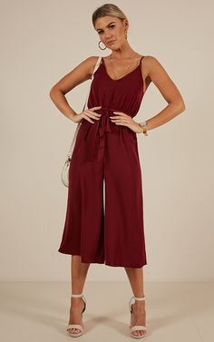 After Hours Jumpsuit in Wine Palazzo Pants Online, Cotton Palazzo Pants, Plazzo Pants, Hippie Pants, Trendy Summer Outfits, Cropped Pants, Fashion Pants, Dress To Impress, Work Wear