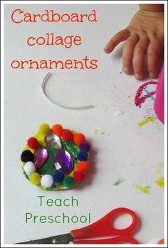 classroom tree, teach preschool, collag ornament, cardboard collag, kid