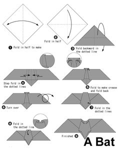 Easy Origami Bat - Also see photo instructions on our website. Place your index finger on the underside of the bat. Origami Simple Bat Halloween Origami Origami Crafts O. Origami Halloween, Christmas Origami, Halloween Bats, Halloween Lanterns, Origami Turtle, Origami Frog, Origami And Kirigami, Paper Crafts Origami, Oragami
