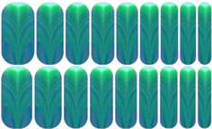 Feather   Jamberry   A soft blend of greens and blues in a feather pattern. Starting darker at one end and drifting to neon, this design is edgy.