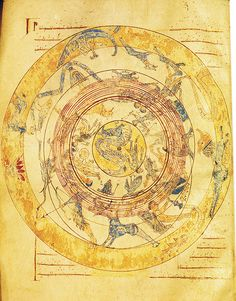 "Map of heaven with Zodiac  From a medieval illuminated manuscript from Burgo de Osma, which contains among others the book of Marcus Tullius Cicero with the title: ""Somnium Scipionis"" with a comment from Macrobius.  12th century"