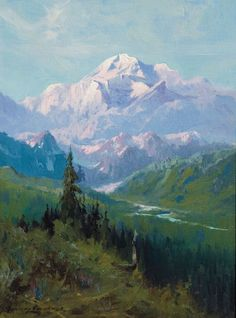 "McKinley from Martha Park"" Sydney Laurence. Kollar Fine Paintings""Mount McKinley from Martha Park"" Sydney Laurence. Watercolor Trees, Watercolor Landscape, Abstract Landscape, Mountain Paintings, Nature Paintings, Landscape Paintings, Mountain Art, Mountain Landscape, Guache"