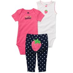 3-piece Bodysuit Pant Set | Baby Girl Sets