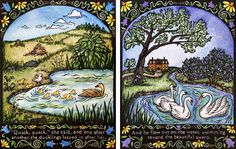 The Ugly Duckling linocut by Jill Bergman