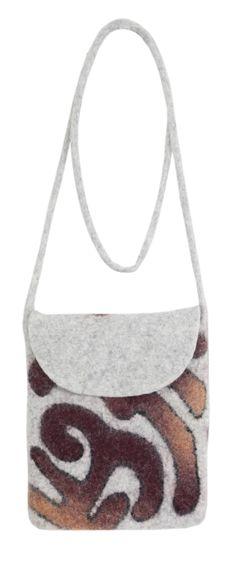 Bag with a hadle (flat). Felt - 100% wool. Handmade, solid rolled, ala kiyiz technique. Base colors: black, gray, white.Color combinations for ornaments: red/blue, orange/brick, crimson/turquiose. Dimensions: 15x18 cm, handle: 120 cm.