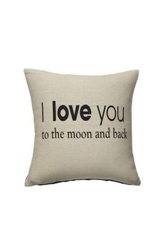 """I Love You To the Moon and Back. Removable cover. Loose fill encased in removable insert.    Dimensions:16"""" Pillow   Love You Pillow by Ganz. Home & Gifts - Home Decor - Pillows & Throws Wisconsin"""