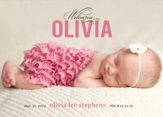 Baby girl birth announcement by West Willow (via Etsy).