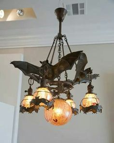 Perfect for the goth abode: Bat Chandelier Home Decor Accessories, Decorative Accessories, Lampe Art Deco, Goth Home Decor, Gypsy Decor, Gothic Furniture, Gothic House, Gothic Mansion, Deco Design
