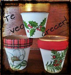 Flower Pot Art, Flower Pot Design, Flower Pot Crafts, Ceramic Flower Pots, Painted Flower Pots, Painted Pots, Christmas Plants, Christmas Clay, Clay Pot Projects