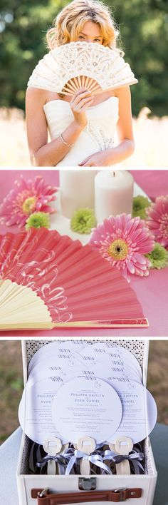 3 different hand fan styles and designs. Which look do you want for your wedding? Keep your guests cool and comfortable this summer!