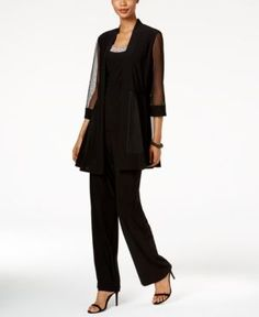 R & M Richards Embellished Layered-Look Pantsuit R & M Richards' elegant pantsuit features a layered-look top and pants that pull-on for a gorgeous fit. Bead embellishments at the neckline give the look a dazzling finish. Dressy Pant Suits, Wedding Pantsuit, Mother Of Bride Outfits, Mother Of The Bride Suits, Pantsuits For Women, Layered Look, Ladies Dress Design, Work Fashion, Trendy Plus Size