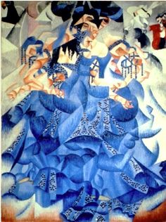 "Blue Dancer ""Ballerina blu"" (1912) by Gino Severini (Gianni Mattioli Collection, on long-term loan to the Peggy Guggenheim Collection, Venice)  - Italian Futurism - Viewed as part of the exhibition ""Italian Futurism, 1909–1944: Reconstructing the Universe at the Guggenheim Museum, NYC, NY 3/1/14"