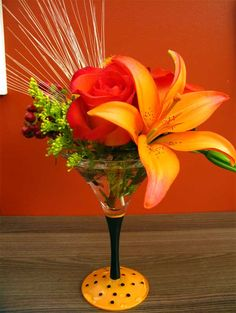 Fall Centerpieces Arrangements | Elegant Halloween Martini glass filled with fall blooms. $29.99
