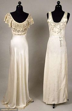 """1930s Chinese made for export, hand sewn, silk damask, deep squared U neckline, bodice top of fine net w/ hand sewn floral lace appliques in shell pink & ivory, label """"Made in China"""" and 1 bias cut silk charmeuse, deep band ecru cotton Val lace bodice & hem trim negligees."""