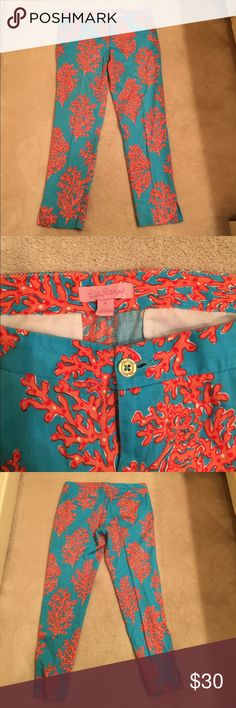 Lilly Pulitzer coral and blue cropped pants Lilly Pulitzer coral and blue cropped pants. EUC. Smoke free home. Lilly Pulitzer Pants Ankle & Cropped