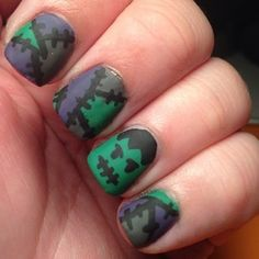 Patchwork inspired by @miami_handjobs added Frankenstein's monster as an accent nail and made it matte.  Four days until Halloween, hopefully I'll get one or two more manis in.  #nails #nailart #notd #nailartofinstagram #nailfeature #nailartwow #nailpromote #halloweennails #halloween #frankenstein #patchwork #frankensteinsmonster