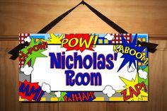 Super Hero Boys Bedroom DOOR SIGN Wall Art by ToadAndLily on Etsy, $14.00